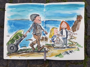 Heading towards the old castle ruin, the girls collected beach pebbles in the cooking pot and made a trail with them