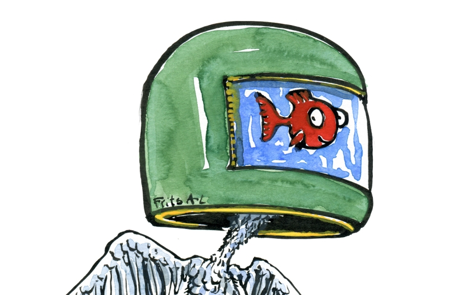 Drawing of a fish in a helmet, with a bird body and human feet
