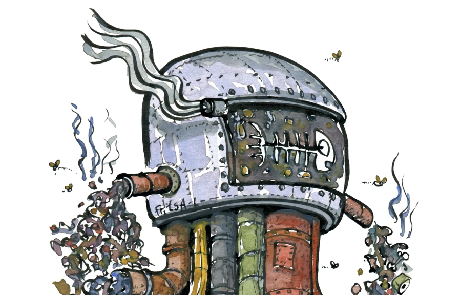 drawing of helmet with pollution