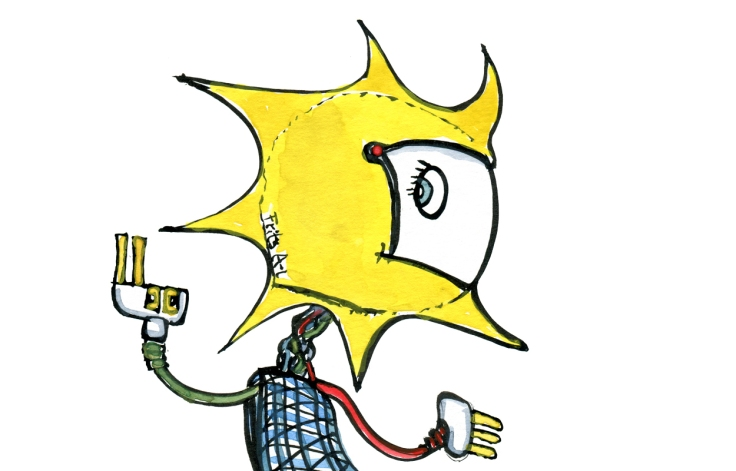Helmet with the sun and other sustainable energy form. Drawing by Frits Ahlefeldt