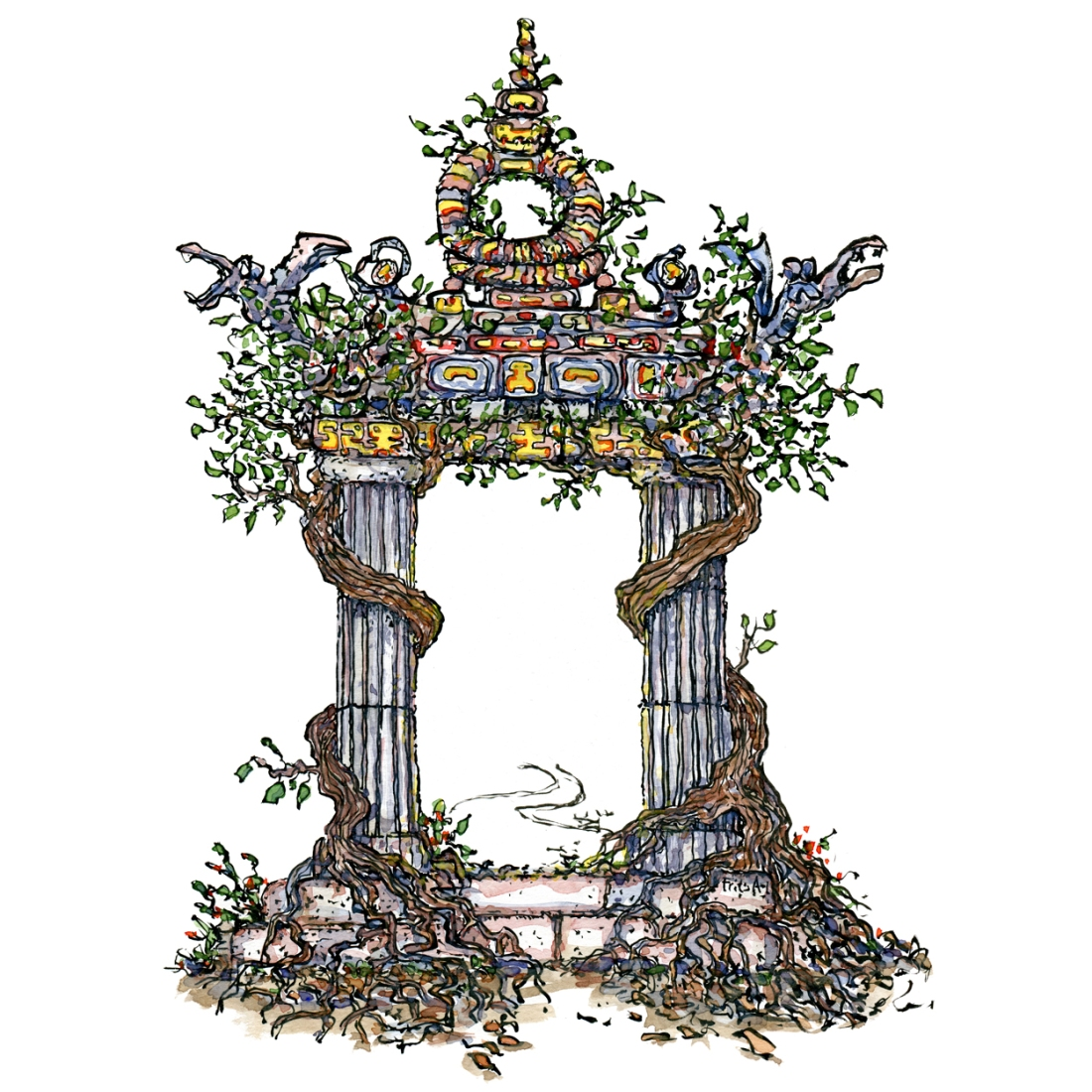 Drawing of an ancient magical gate