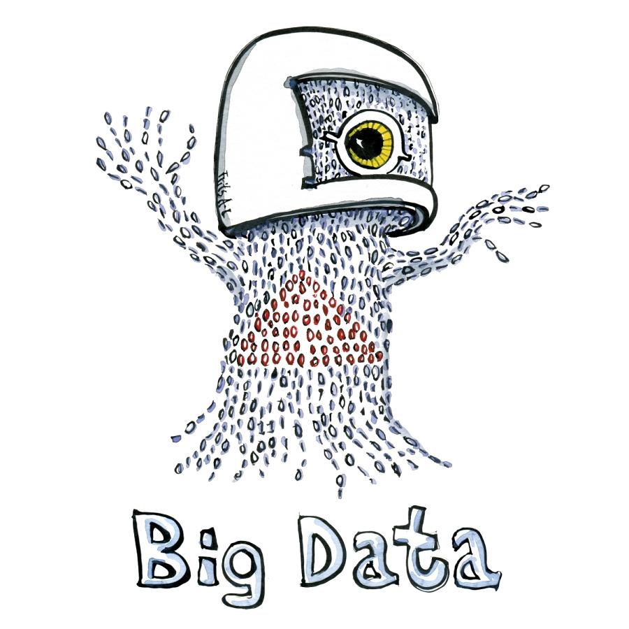 Big data stream bits in a helmet looking self-confident