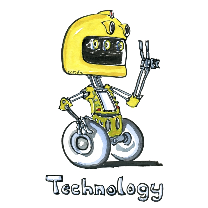 Drawing of a robot making victory sign