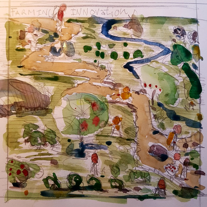 Drawing of hiking trail with food