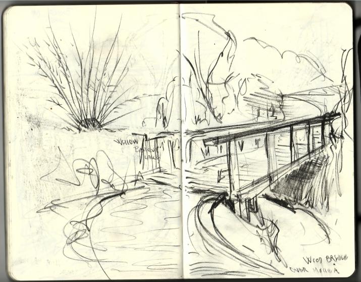 Drawing of a bridge pencil in Moleskine sketchbook
