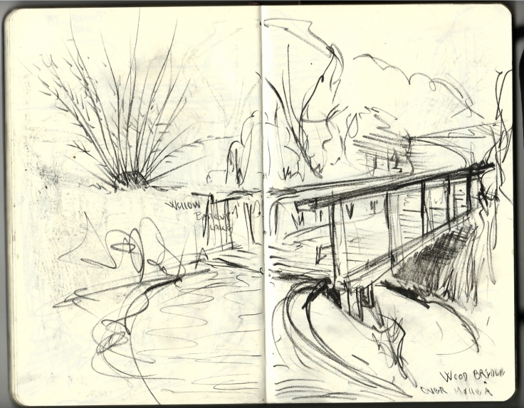 Drawing of a bridge pencil in Moleskine sketchbook