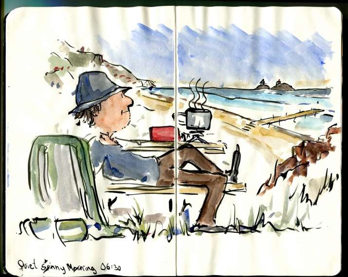 Drawing of a hiker sitting on a bench