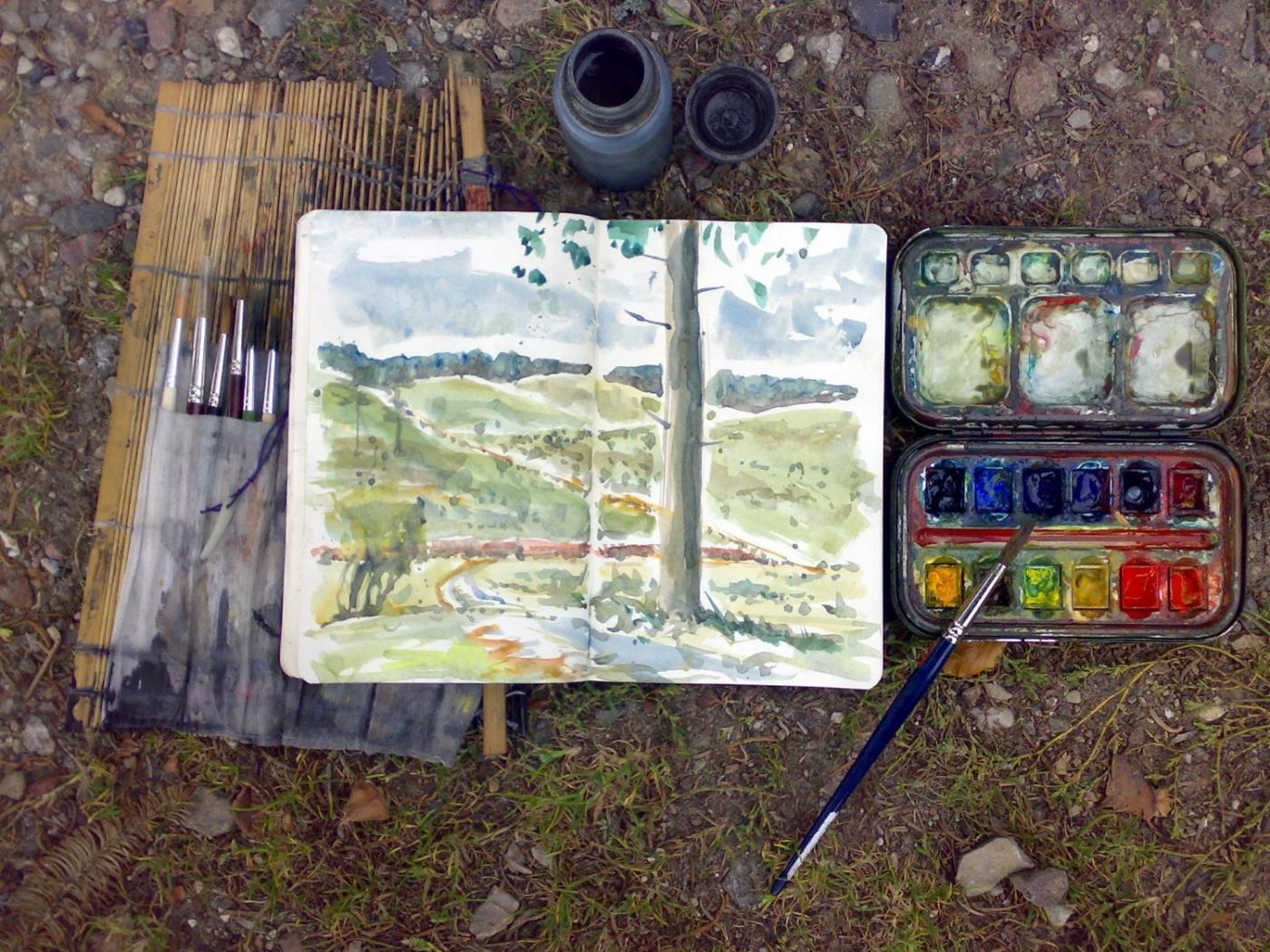 Drawing of watercolor sketching gear