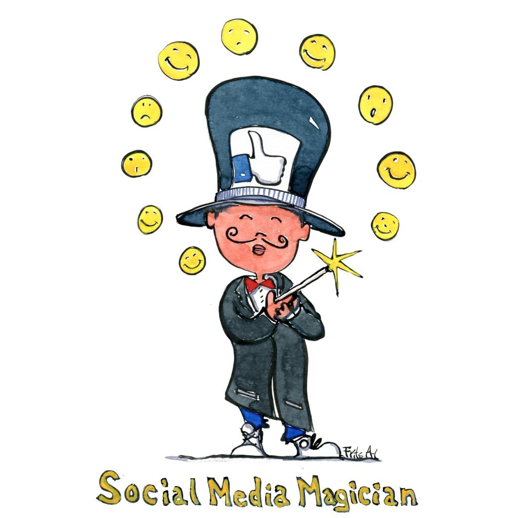drawing of a social media magician