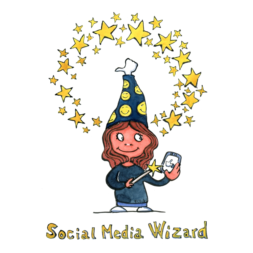 Drawing of a social media wizard