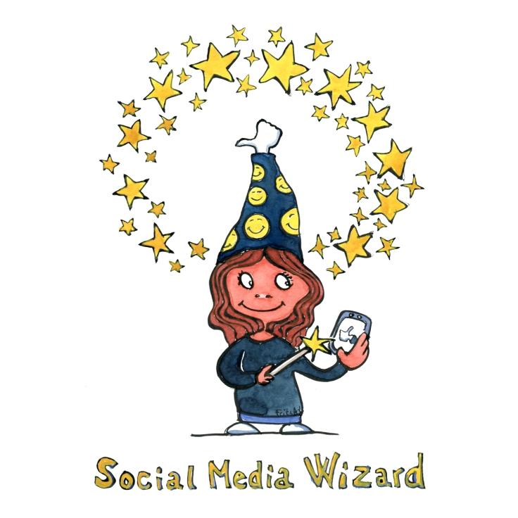 Drawing of a social media wizard