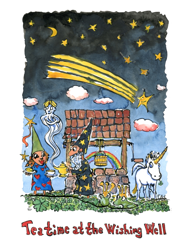 Drawing of a wishing well with fairy, unicorn, tea, shooting stars, four clovers and even frogs and a genie in a bottle. Illustration by Frits Ahlefeldt