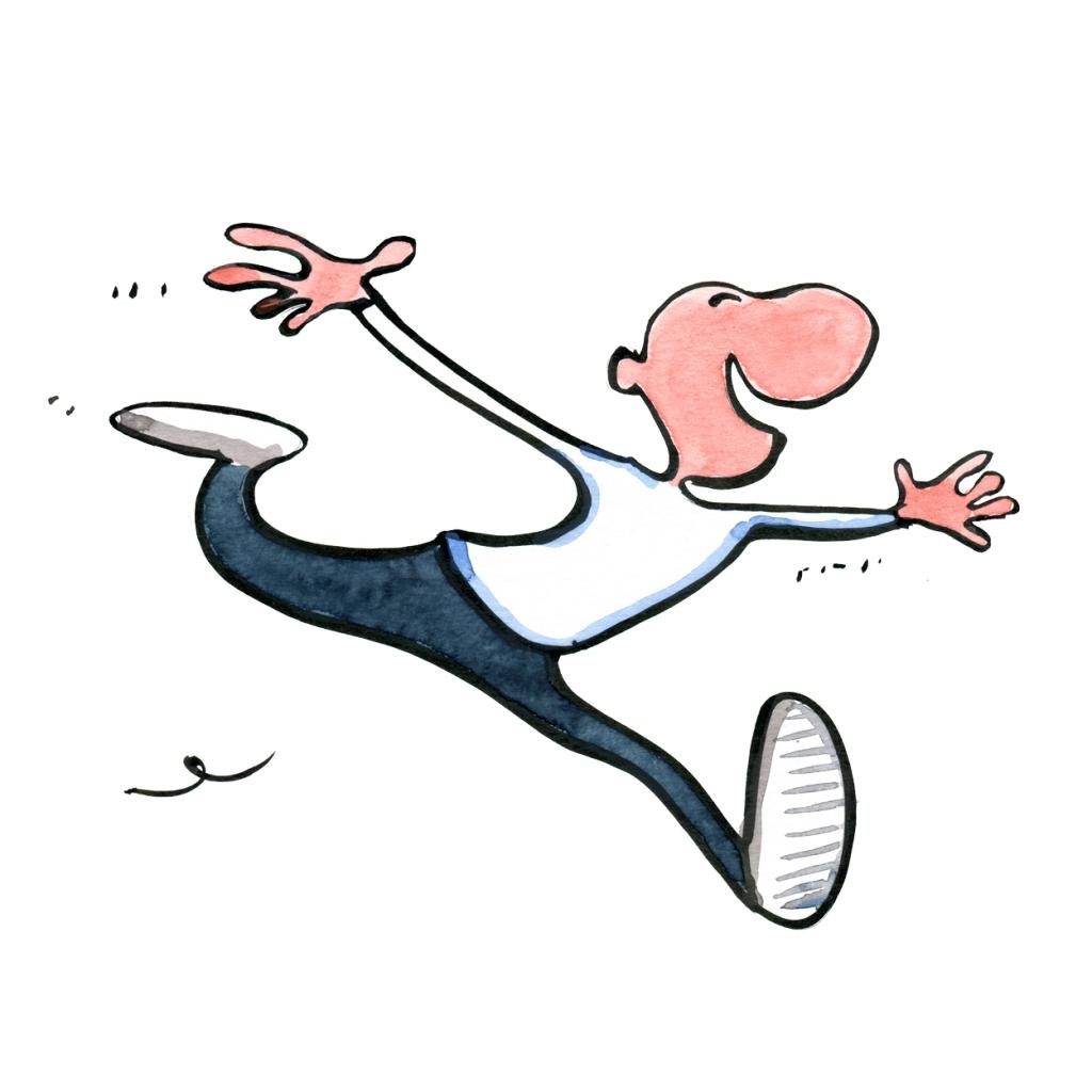 Man running happily - The rainbow wishful thinking model - illustration by Frits Ahlefeldt