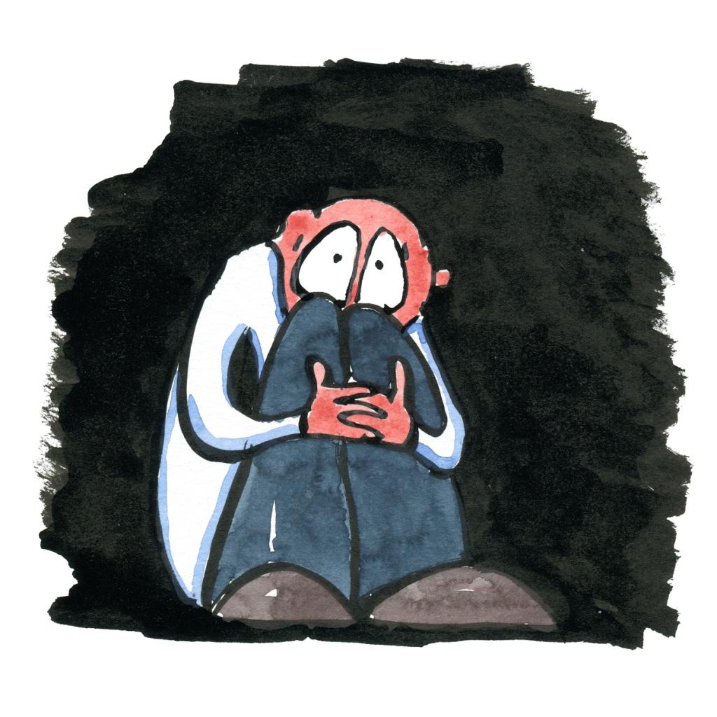 Man sitting depressed in darkness - The rainbow wishful thinking model - illustration by Frits Ahlefeldt