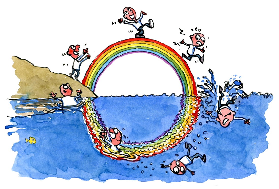 Man walking onto rainbow and going through seven stages of wishful thinking. The rainbow wishful thinking model - illustration by Frits Ahlefeldt