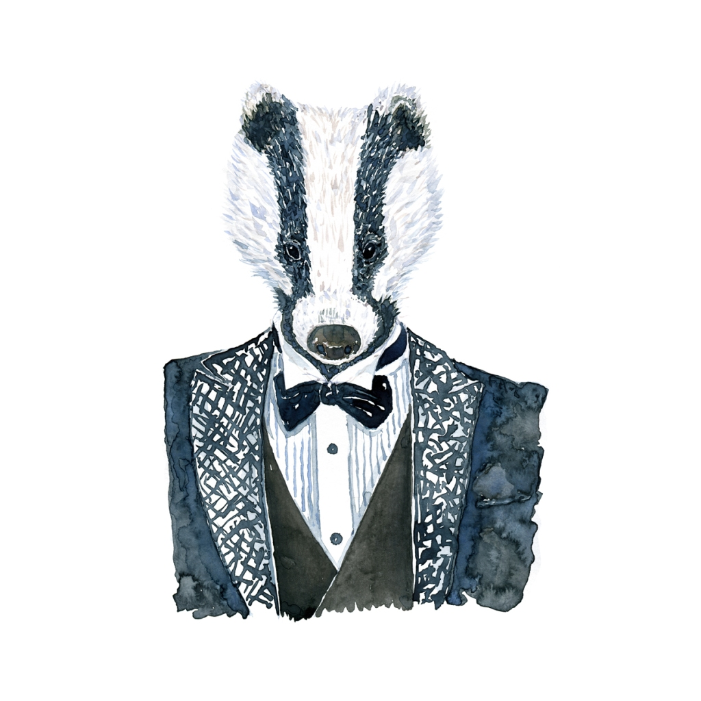Watercolor of dressed up badger