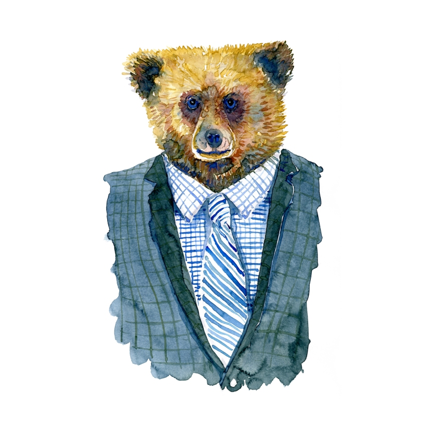 Watercolor of a bear in a suit