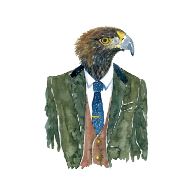 Watercolor of an eagle in a suit