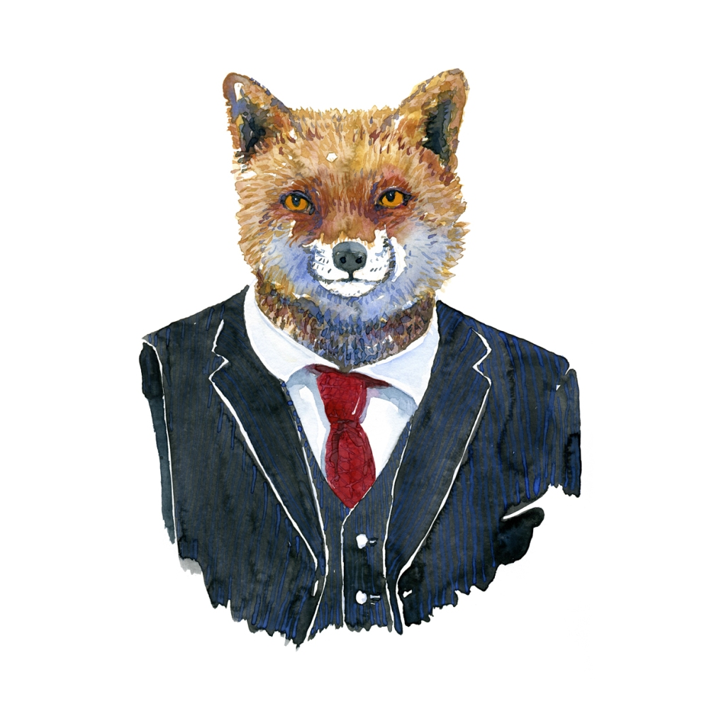 Watercolor of a fox in a suit