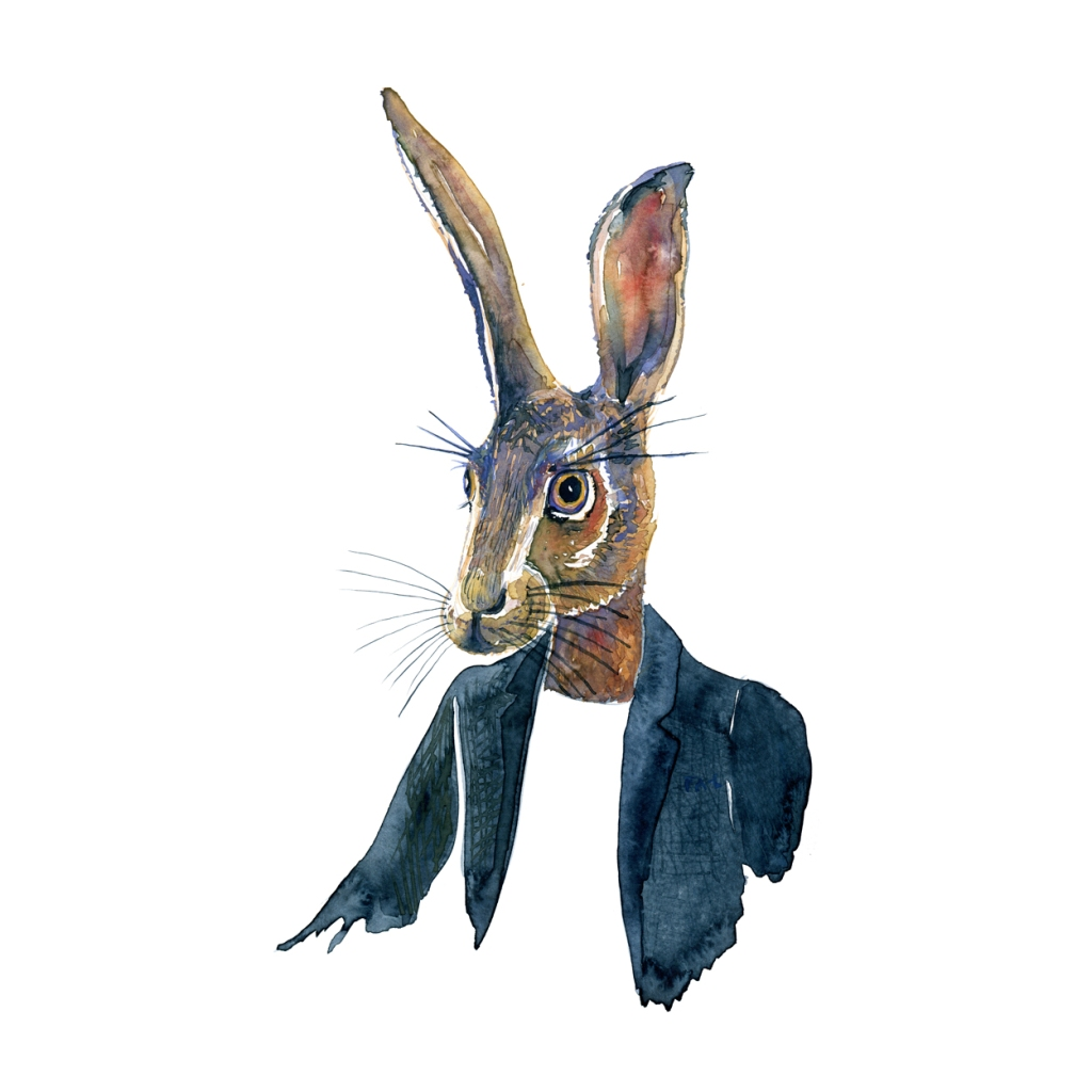 Watercolor of a hare in a jacket