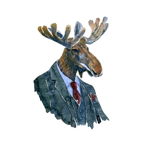 Watercolor of a moose in suit