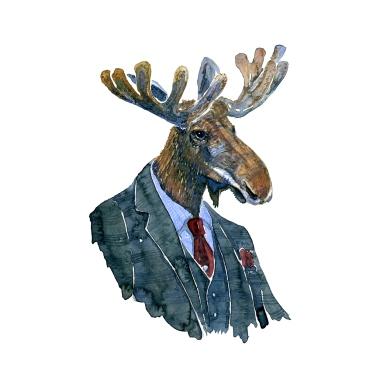 Watercolor of a moose in suit