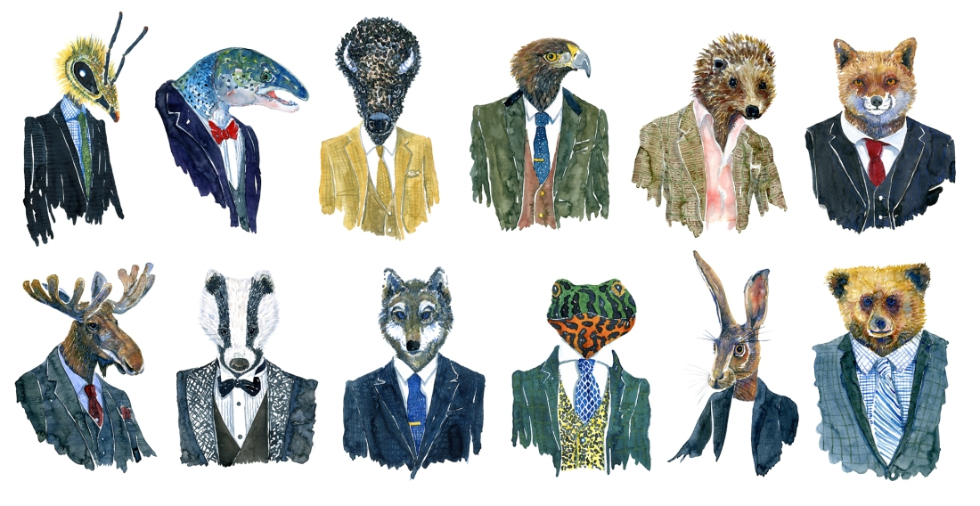 Watercolor of wildlife in suits