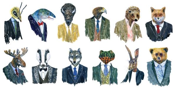 Watercolor of wildlife in suits