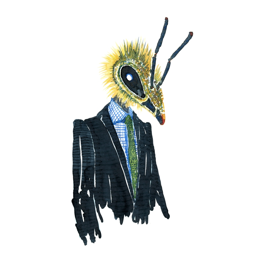 Watercolor of a bee in a dark suit