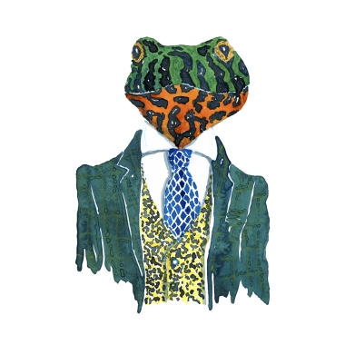 Watercolor of a frog in suit