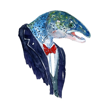 Watercolor of a Salmon in suit