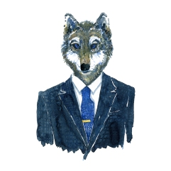Watercolor of a wolf in a suit