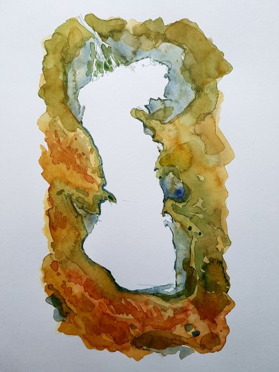 Watercolor of the Caspian Sea. Freehand painting by Frits Ahlefeldt