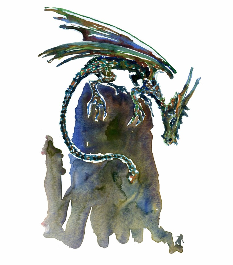 creature-dragon-and-human-watercolor-by-frits-ahlefeldt