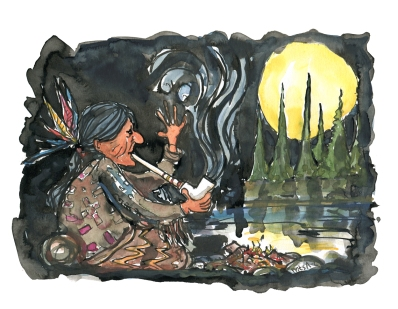 illustration-color-smoking-indian-pipe-by-lake-spirit-drawing-by-frits-ahlefeldt