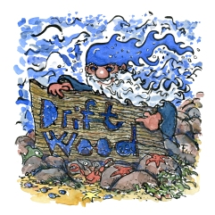 Coastal hiking driftwood sign with blue elf illustration by Frits Ahlefeldt