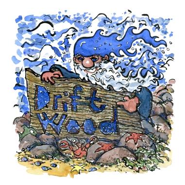 Coastal hiking driftwood sign with blue elf illustration by Frits Ahlefeldt