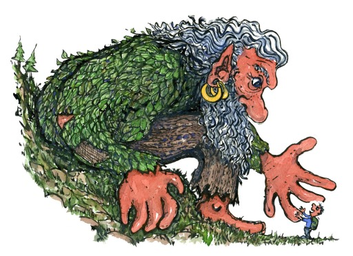 giant troll saying hello to tiny hiker illustration by Frits Ahlefeldt