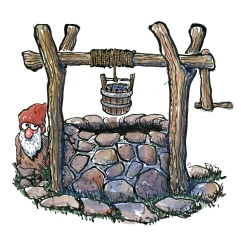 Illustration of old style well with tiny Elf drawing by Frits Ahlefeldt