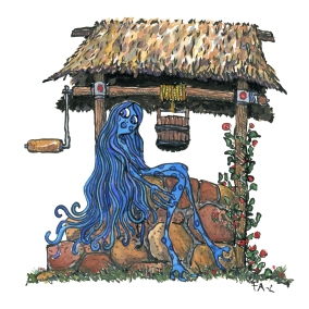 Drawing of a blue fairy creature sitting on the site of a well, illustration by Frits Ahlefeldt