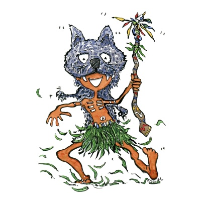 Shaman looking man with wolf mask, illustration by Frits Ahlefeldt