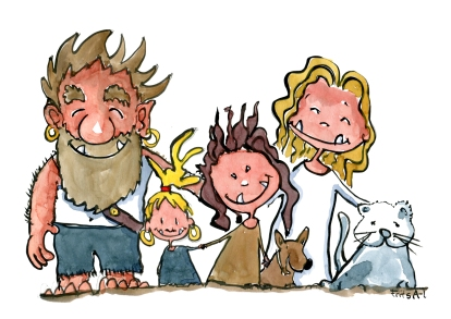 illustration of a troll family, drawing by Frits Ahlefeldt