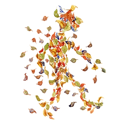 drawing of a group of leaf looking like a man walking. drawing by Frits Ahlefeldt