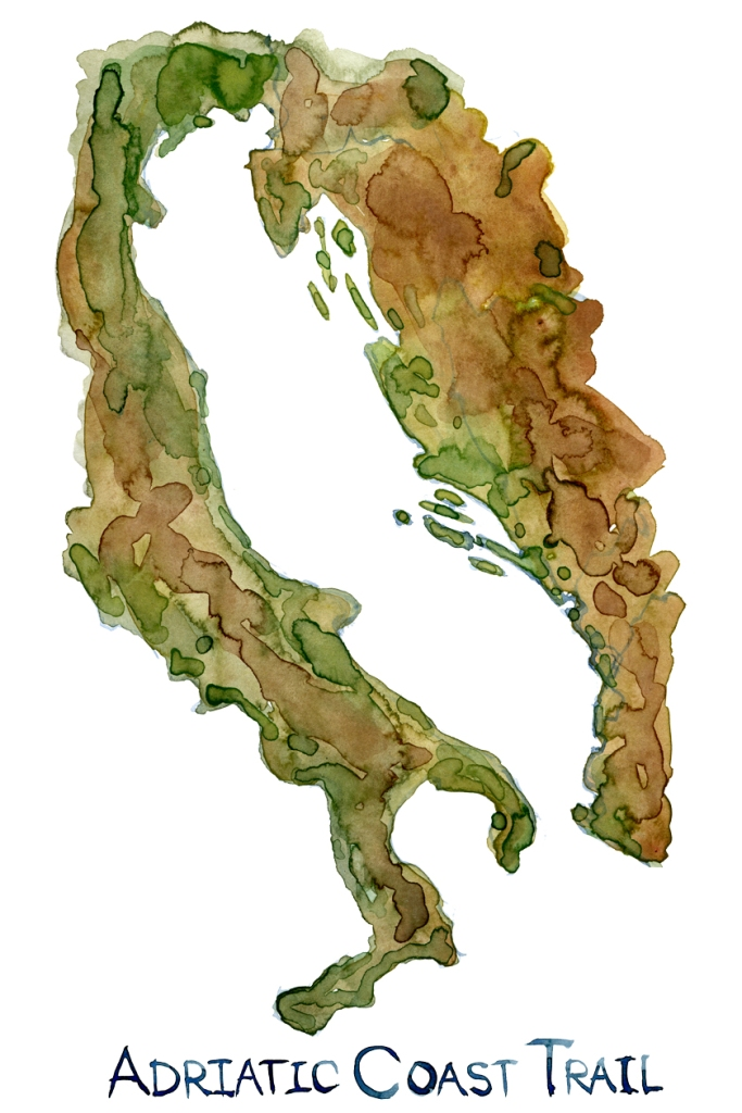 hand-drawn illustration of the Adriatic Sea with the Adriatic Coast Trail written. Watercolor by Frits Ahlefeldt