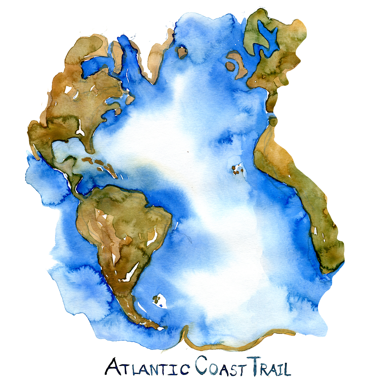 Drawn map of the Atlantic Sea with the Atlantic Coast trail written on it