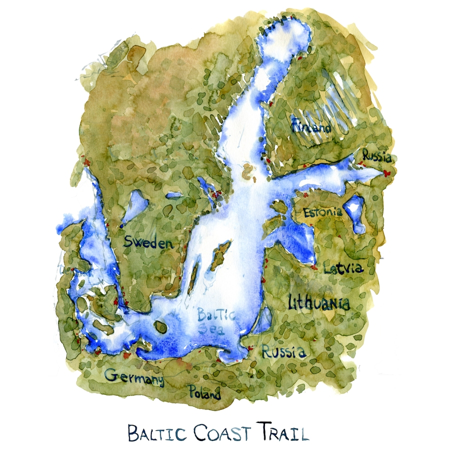 map of the baltic sea illustration by Frits Ahlefeldt, Text on the map Baltic Coast Trail