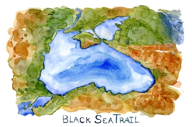 Watercolor map of the black sea with black sea trail written, watercolor by Frits Ahlefeldt