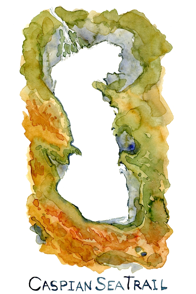 Watercolor map of the Caspian Sea, with the name Caspian Sea Trail on it.