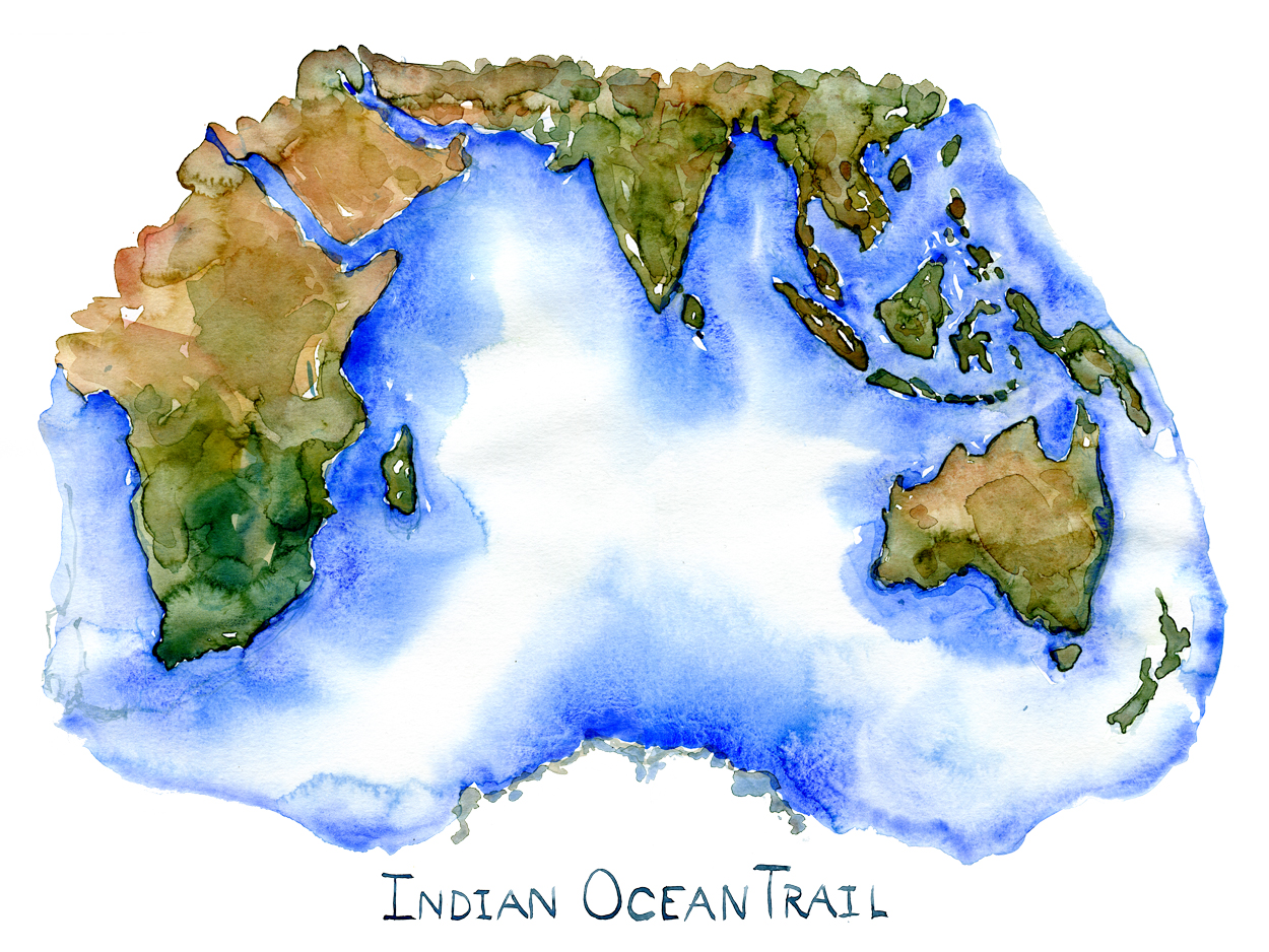 Indian Ocean map watercolor by Frits Ahlefeldt, with the name Indian Ocean trail written on it