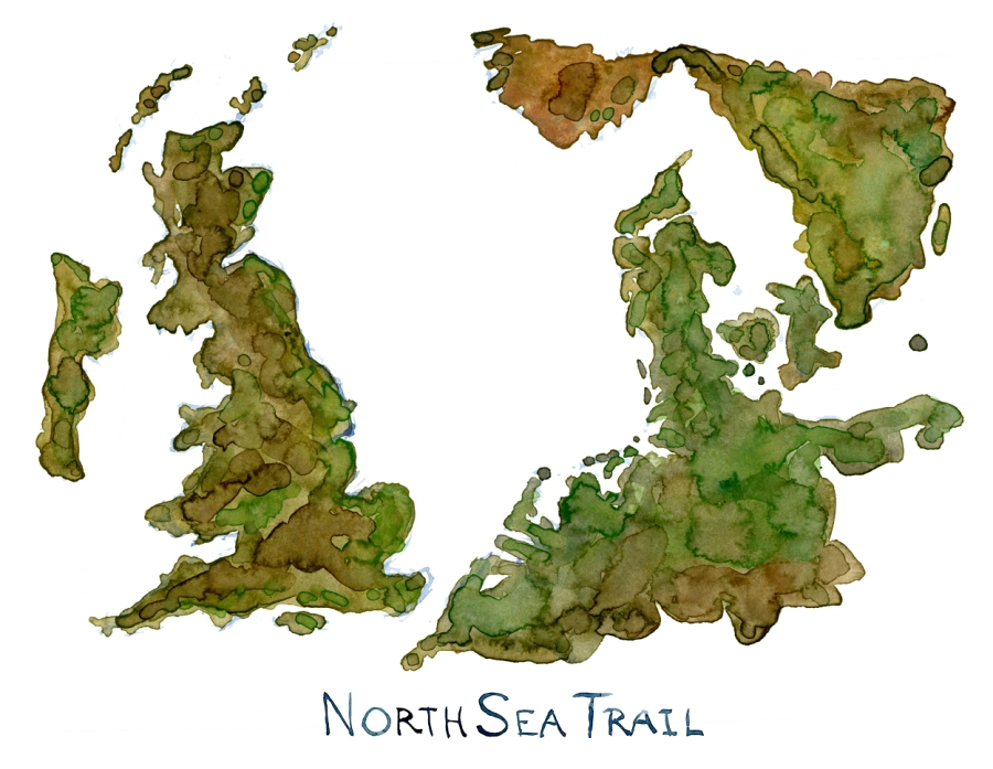 Drawing of the North Sea map in watercolor. artwork by Frits Ahlefeldt